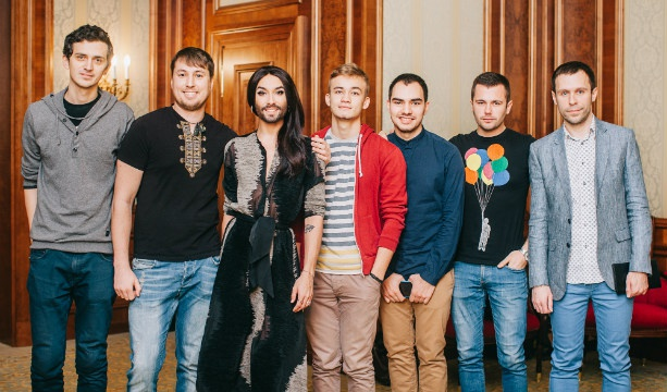 "Conchita Wurst meeting with LGBT activists in Kiev and studies performed in ""Kvartal 95""Quartal 95"