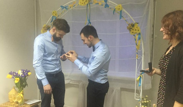 """People who've come is the best guarantee of our relations"", in Kiev, the first gay wedding happens"