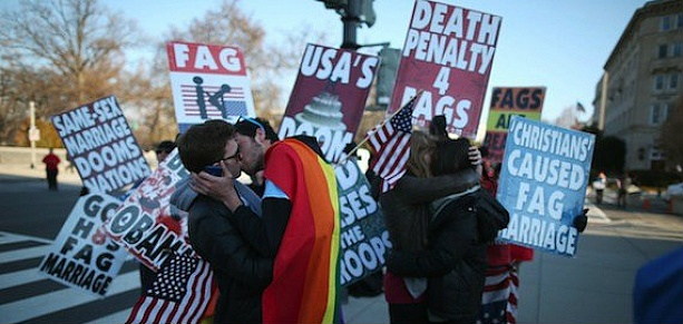 DOMA Protest: Gay Couples Kiss In Front Of Members Of Westboro Baptist Church